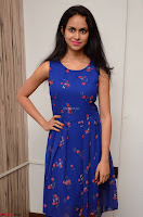 Pallavi Dora Actress in Sleeveless Blue Short dress at Prema Entha Madhuram Priyuraalu Antha Katinam teaser launch 041.jpg