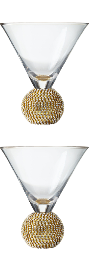 Ball-Stem Martini Glasses in Gold