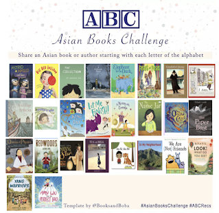 Asian Book Challenge image. It has a chart with spaces for each letter of the alphabet and they have the covers of books inside them instead of letters. The books are listed in the post in the link below.