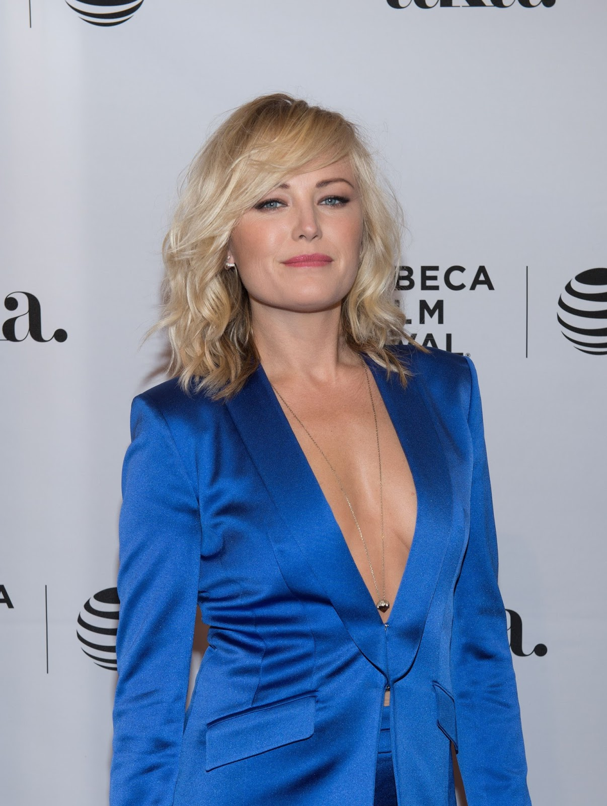 Ladies in Satin Blouses: Malin Akerman - blue satin suit Malin Akerman