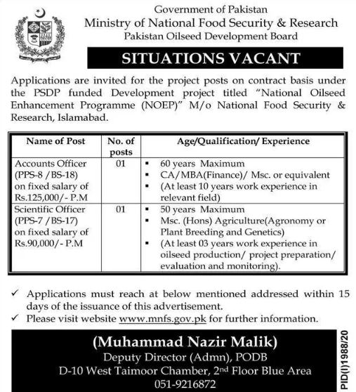 Ministry of National Food Safety and Research Jobs October 2020