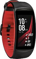 Samsung Gear Fit2 Pro (Small) Black Aluminum Case Red Sport Band SM-R365NZRNXAR