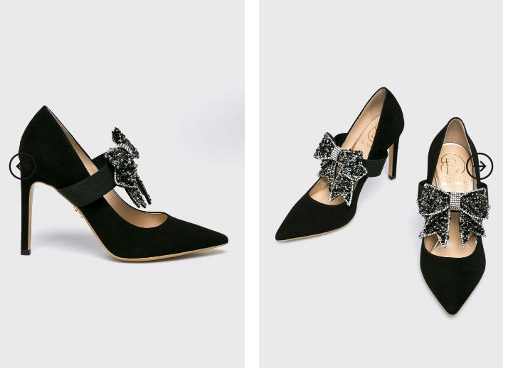 Baldowski - Pantofi cu toc din piele eleganti cu brosa frumoasa