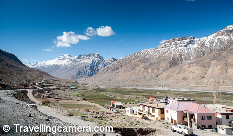 Here is view of the other side from main Kaza road. This photograph was clicked from the road above main bus stand and you can notice few tents installed in right bottom part of the photograph. That's Zostel infrastructure in Spiti.