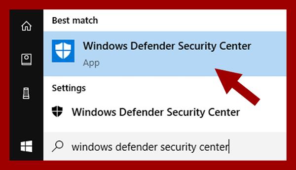 Membuka Windows Defender