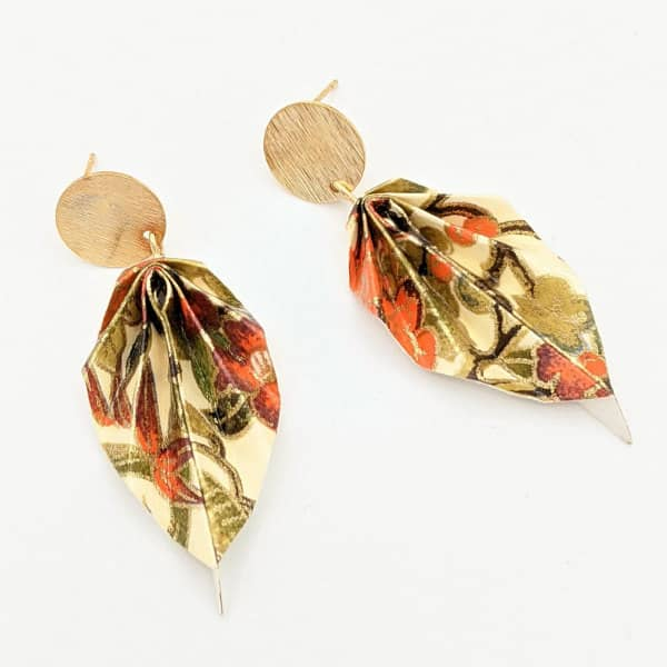 origami leaf earrings with brass findings