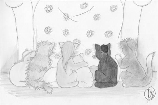 Kleine Katzen lauschen einer Geschichte