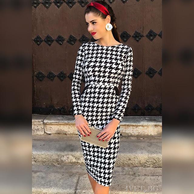 Μακρυμάνικο μίντι άσπρο-μαύρο φόρεμα MAKENA