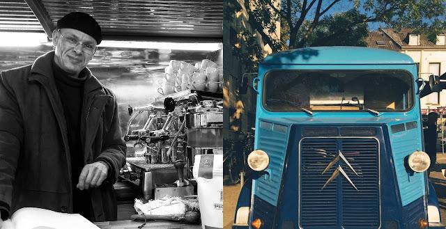 Karl-Heinz Schau mit seinem rollenden Stehcafe auf dem Wochenmarkt in Bad Kreuznach