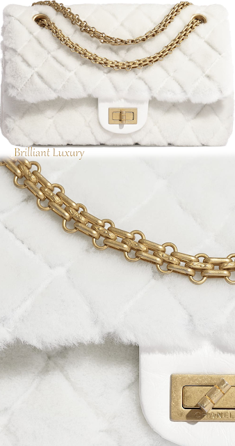 Chanel white fluffy shearling lambskin aged calfskin bag #rilliantluxury