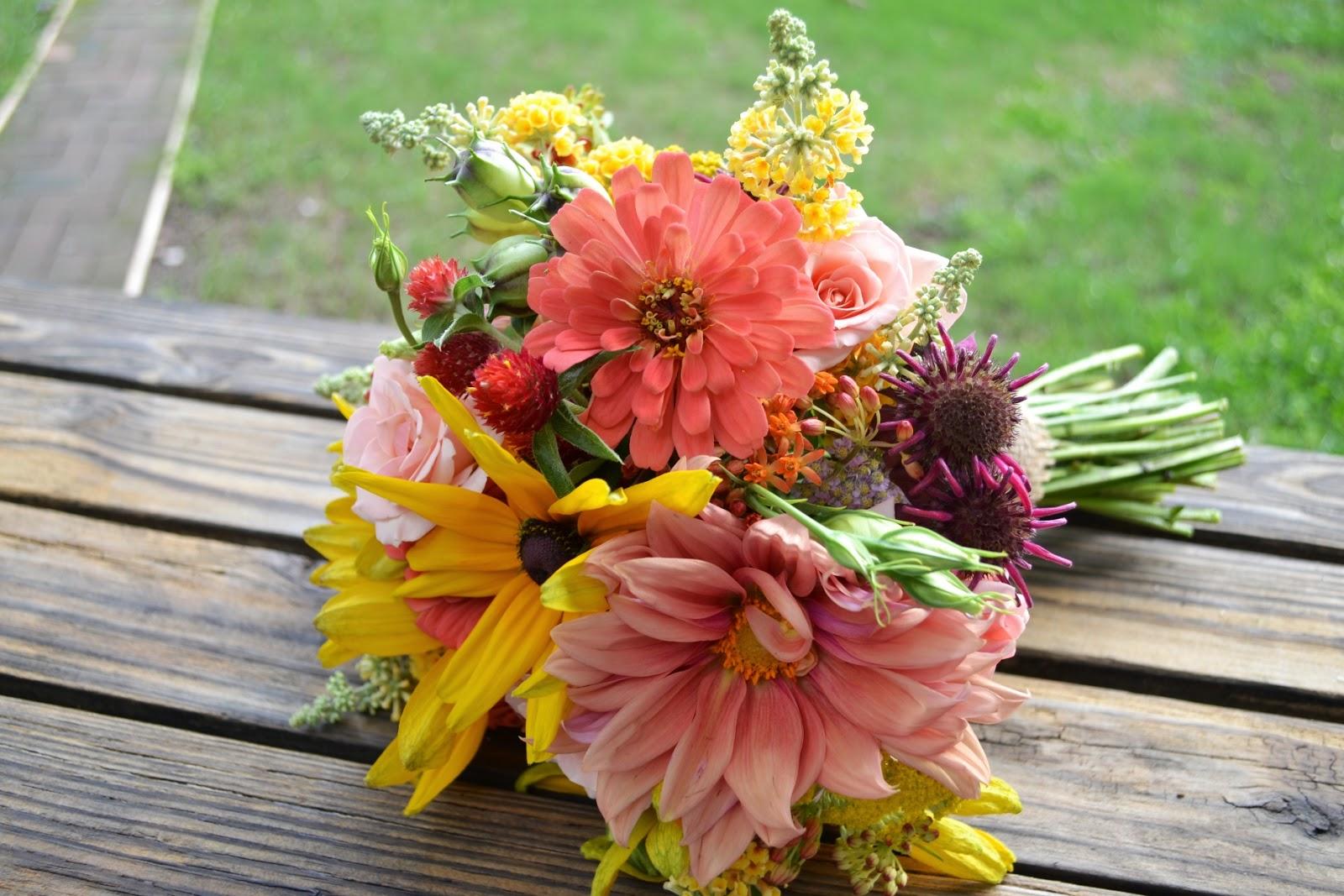 Wedding Flowers From Springwell: Peach Dahlias And Zinnias