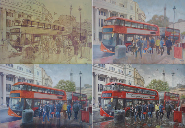 M P Davey London bus stop painting in stages