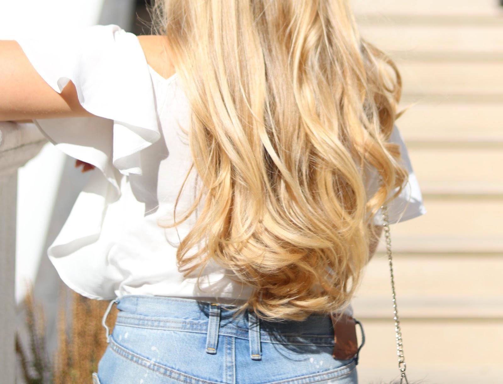 Blonde Girl, Katie Heath with Olaplex Haircare treatment
