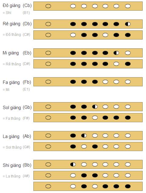 Hướng dẫn thổi nốt giáng (b) trên sáo trúc 6 lỗ