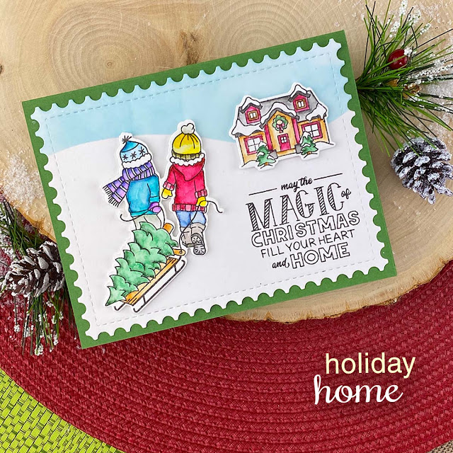 Magic of Christmas Card by Jennifer Jackson | Holiday Home Stamp Set, Hills & Grass Stencil and Framework Die Set by Newton's Nook Designs
