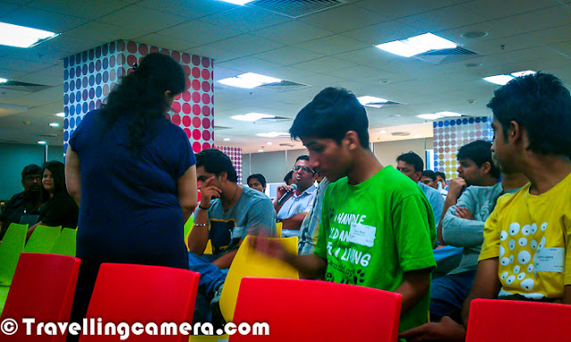 Few days back Youtube group of Google organized a Blogger's meet at Gurgaon and this Photo Journey shares some of the moments of this meet. So let's check out about Youtube Blogger Meet at Google Gurgaon and know what all happened during those 3 hrs...Event was planned to start at 3:00pm and I started from Noida at 1:15pm. Priyanka met at Rajiv Chowk and we reached the venue at right time after some discussions about Indian Blogger Meet & our team 'Delhi Sutras'. Google office is in DLF Cyber-City, so we took Metro till Dronacharya station and Auto from that point. After reaching Google office in Cyber-City, it was time for registration. After impressive registration process, everyone moved to a hall surrounded by corners/stalls of different types of snacks and drinks... After quick drinks session, meet started...As heard, Google office was very impressive. Google has not an independent space in Gurgaon and there is one floor with Google. Overall environment was quite cheerful...Few folks from Youtube Team started a presentation about Youtube and opportunities for Bloggers to try out another medium of expression. Sessions were quite interactive and there were few folks who were already having some Youtube channelsMain idea was to introduce Youtube Partner Program to the bloggers and to highlight the fact about monetizing digital content on Youtube. Overall talks were quite optimistic, but in reality people were quite apprehensive.Youtube team also shared some of the interesting channels who are started by some individuals and have been able to establish their own brands.Again there was a coffee break and it was another opportunity for folks to try various snacks options...Costa Counter inside Google Gurgaon Office, and there was good range of options available for free :) ... In fact, for Google employees as well Fruits counter at Google Gurgaon Office Aabha and Priyanka, members of Delhi-Sutras team of IBL (Indian Blogger LeaguePeople were too busy with snacks even when break time passed. Finally organizers needed to call everyone to come back and resume furtherMany bloggers were taking notes seriously and I am sure that probably everyone in the room would give a shot on Video-blogging at Youtube.