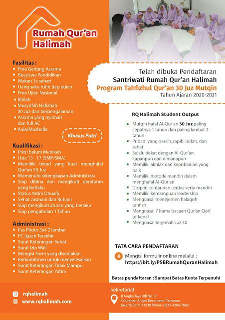 Pendaftaran Rumah Quran Halimah Jakarta