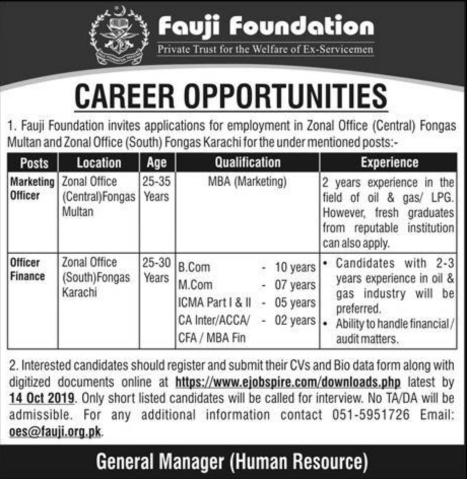 Fauji Foundation Jobs 2019 for Zonal Offices