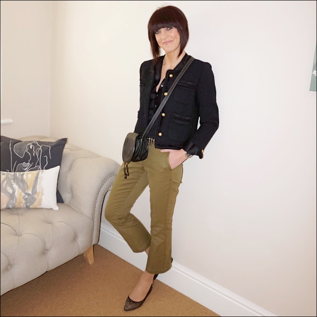 My Midlife Fashion, chloe marcie across body bag, j crew lady jacket, j crew tuxedo top, j crew cropped kick flare chinos, boden studded flat shoes