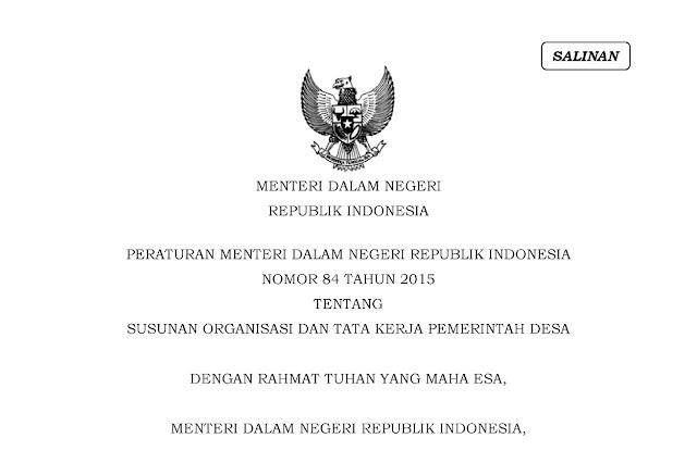 Peraturan Menteri Dalam Negeri Nomor 84 Tahun 2015 tentang Susunan Organisasi Dan Tatakerja (SOT) Pemerintah Desa