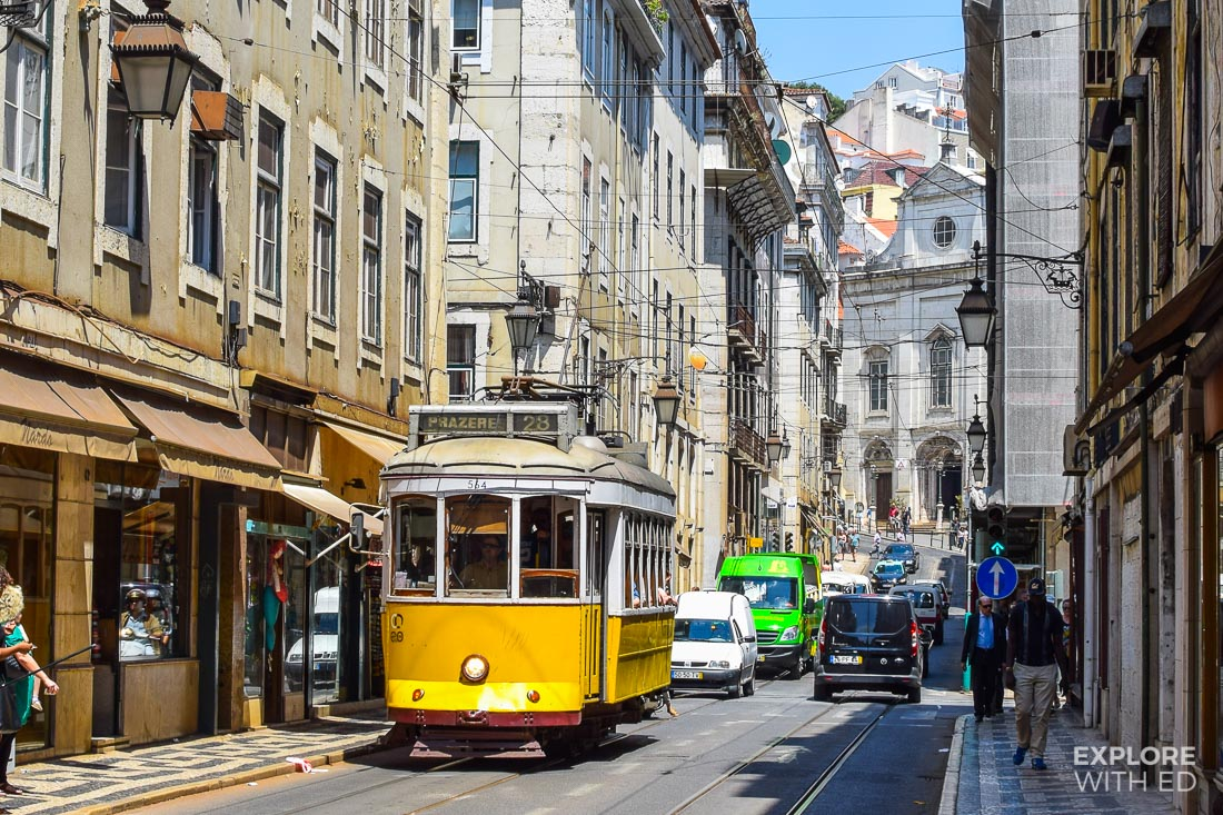 The classic yellow tram in Lisbon, Portugal