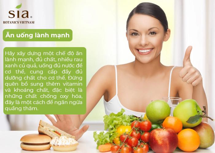 ăn uống lành mạnh để trị quần thâm đúng