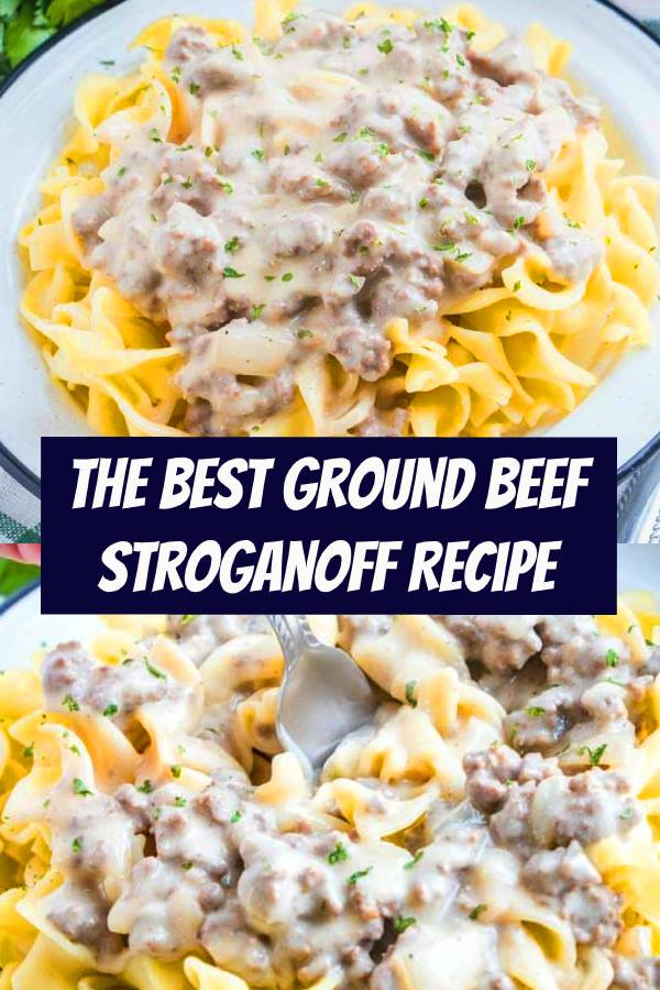 This is the best Ground Beef Stroganoff Recipe. It's a flavor-filled creamy hamburger gravy that is best served over egg noodles. Budget friendly, family friendly, best for dinner! #groundbeef #dinner