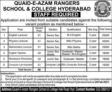 Latest Jobs in Pakistan in Quaid-e-Azam Rangers School and College Hyderabad Jobs 2021