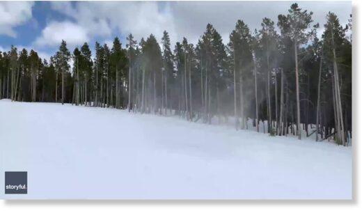 Snow tornado observed in Big Sky, Montana, USA