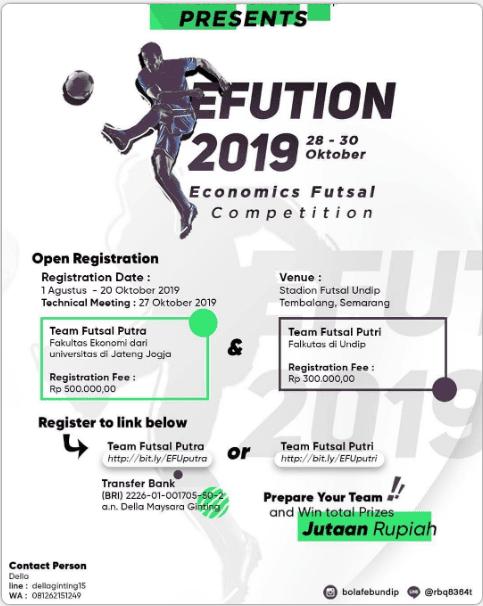 Lomba Futsal EFUTION 2019 Undip Untuk Mahasiswa Se-Jawa Tengah