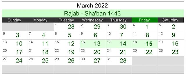 Kalender Hijriah Bulan Maret 2022 Lengkap Jadwal Puasa