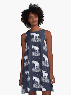 Unicorn dress, feautirng white unicorns on a dark navy background A-line dress.