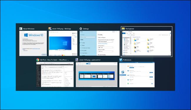 التبديل بين النوافذ باستخدام Alt + Tab في نظام التشغيل Windows 10.