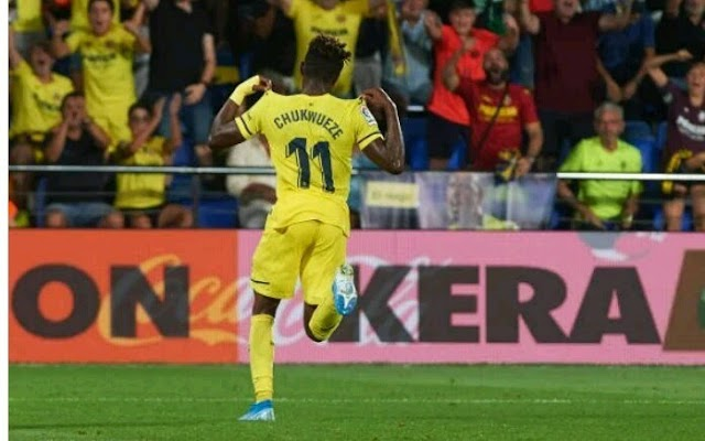 Samuel Chukwueze scores for his Club Villarreal in their first league game of the 2019/2020 la Liga season.