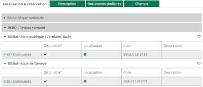 Capture d'écran pour l'affichage détaillé de la disponibilité