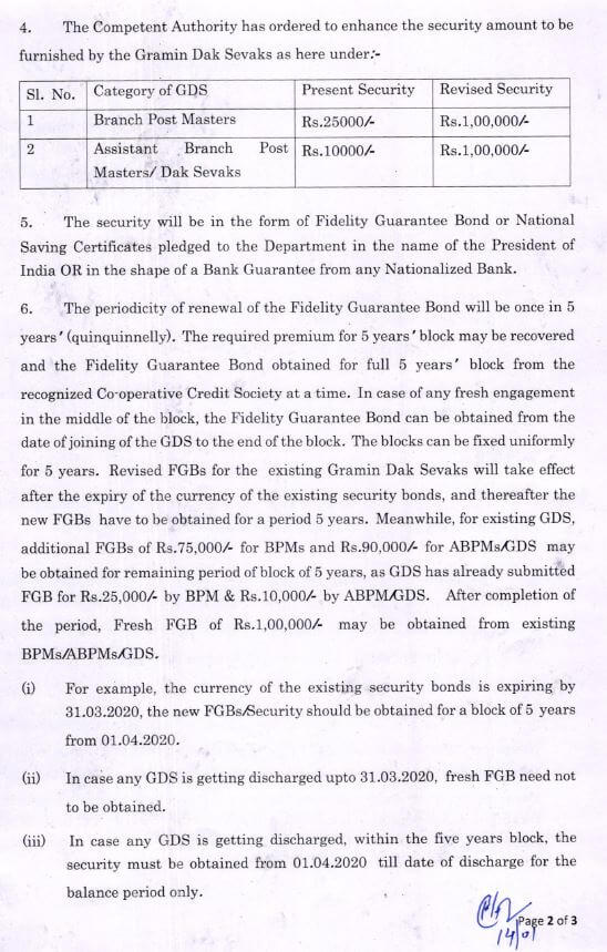 Revision of security amount to be furnished by the GDS