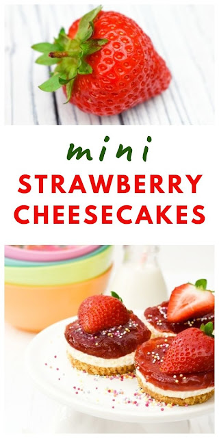Mini Strawberry Cheesecakes. A simple recipe for mini no-bake strawberry cheesecakes with vegan and vegetarian options. Perfect for a family dessert, a cheeky treat, for afternoon tea, picnics or lunchboxes. #strawberrycheesecakes #ministrawberrycheesecakes #easynobakecheesecake #nobakecheesecake #cheesecake #easystrawberryrecipes #strawberrydesserts  #strawberryfridgecakes