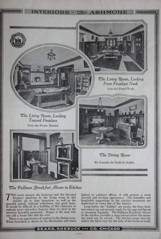 catalog page from 1918 showing interior images for Sears Ashmore