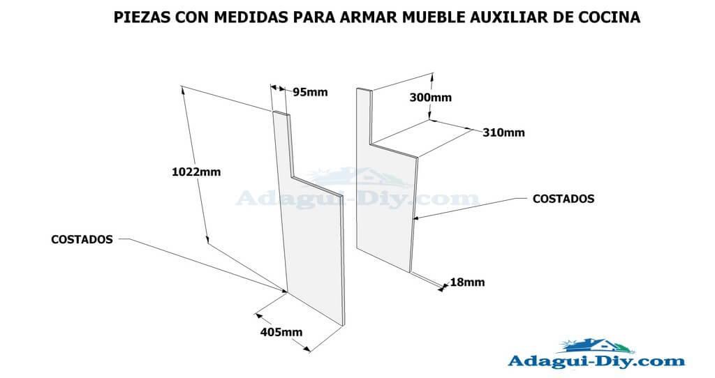 Diagrama e im genes planos con medidas de mueble auxiliar - Planos de muebles de cocina ...