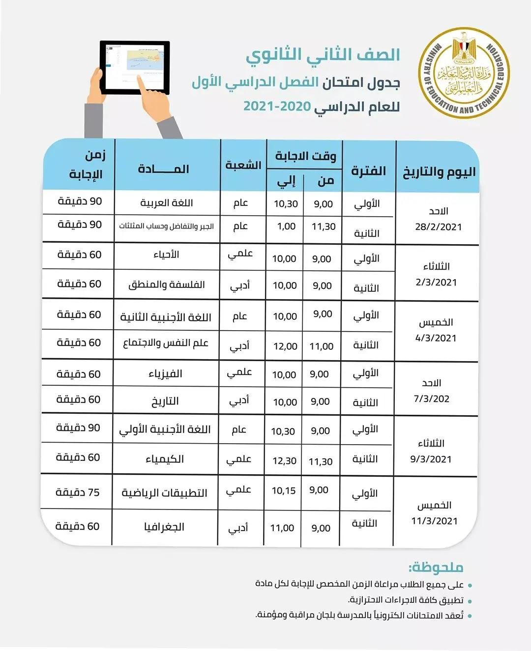 جدول امتحانات الصف الثاني الثانوي الفصل الدراسي الاول