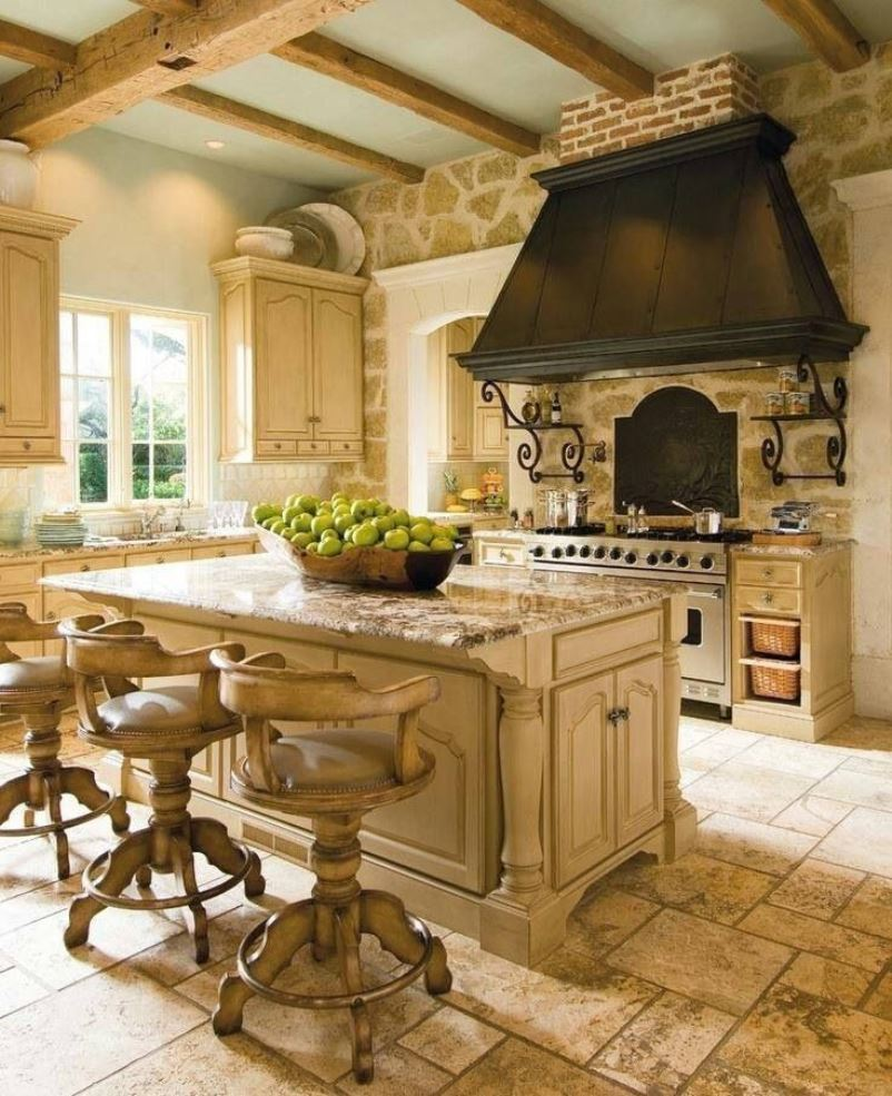 Create a classic french rustic country style kitchen for French country kitchen designs photos