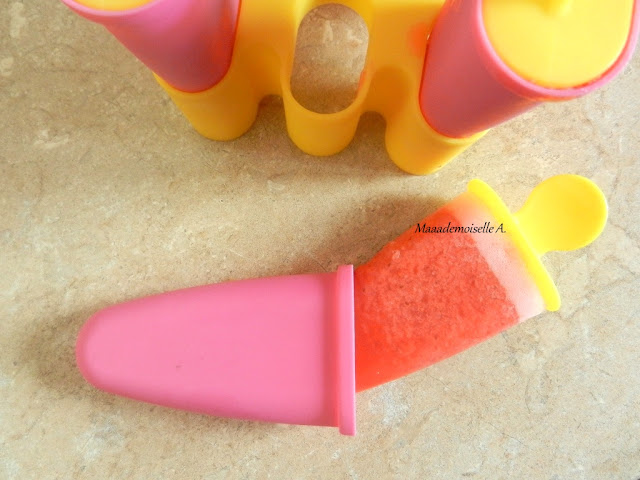 || Bâtonnets glacés (ou sorbet) à la fraise, véganes (sans lait, oeufs, crème)