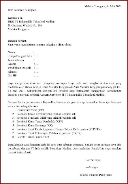 Contoh Application Letter Untuk Asisten Apoteker (Fresh Graduate) Berdasarkan Informasi Dari Job Fair