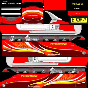 Livery Bussid XHD Putera Mulya Merah