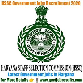 HSSC Government Jobs Recruitment 2020-21