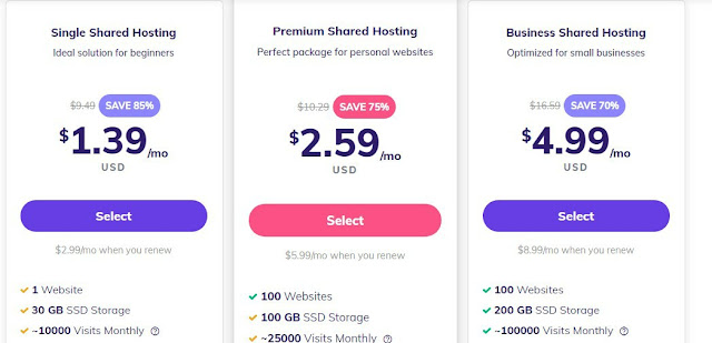 hostinger shared hosting plan pricing and discounts for beginners