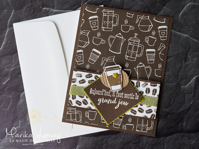carte masculine avec café pour emporter Stampin'up!