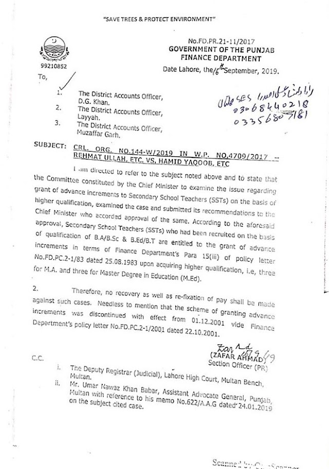 GRANT OF ADVANCE INCREMENTS TO SECONDARY SCHOOL TEACHERS (SSTs)