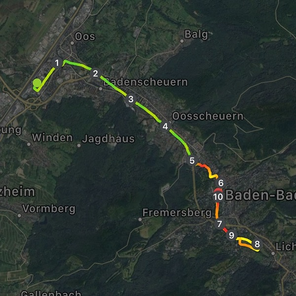Der Streckenverlauf durch Baden-Baden beim Heel-Lauf 2019
