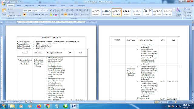 Program Tahunan PJOK SD Kelas 3 Semester 1 dan 2 Kurikulum 2013 Revisi Terbaru